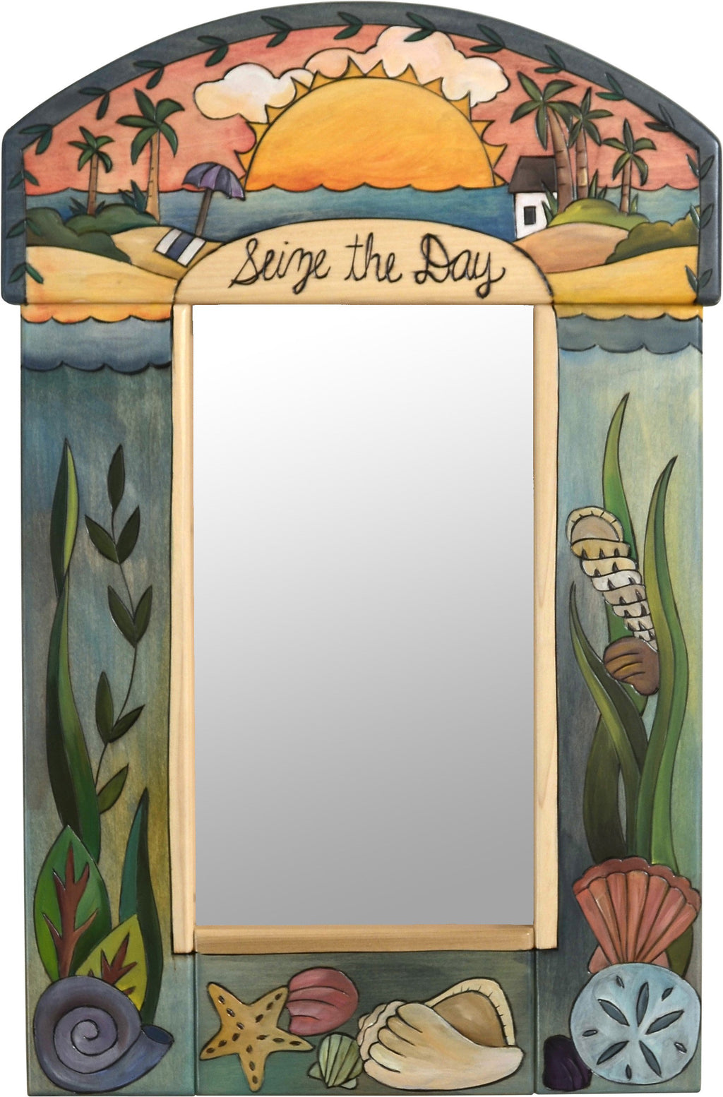 "Small Mirror –  ""Seize the Day"" mirror with warm sunset over a beachy paradise motif"