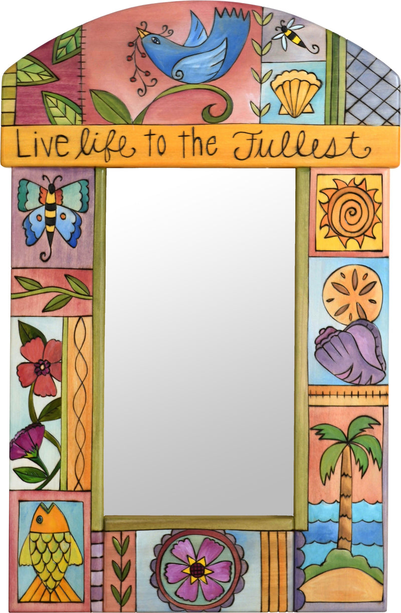"Small Mirror –  ""Live Life to the Fullest"" mirror with palm tree and seashell motif"