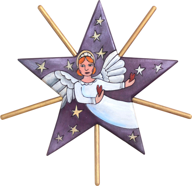 Tree Star –  Radiant Holy Angel motif on a royal purple background