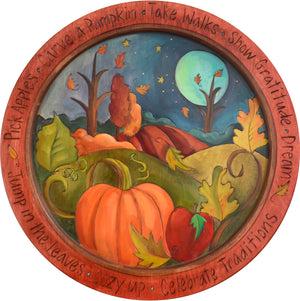 "18"" Round Tray –  Autumn themed landscape motif tray in an elegant color palette"