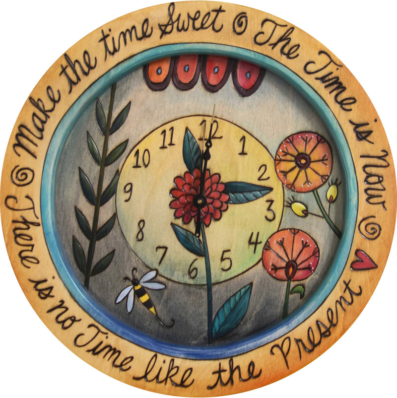 "14"" Round Wall Clock –  A wall clock for garden lovers, ""Make the Time Sweet"""