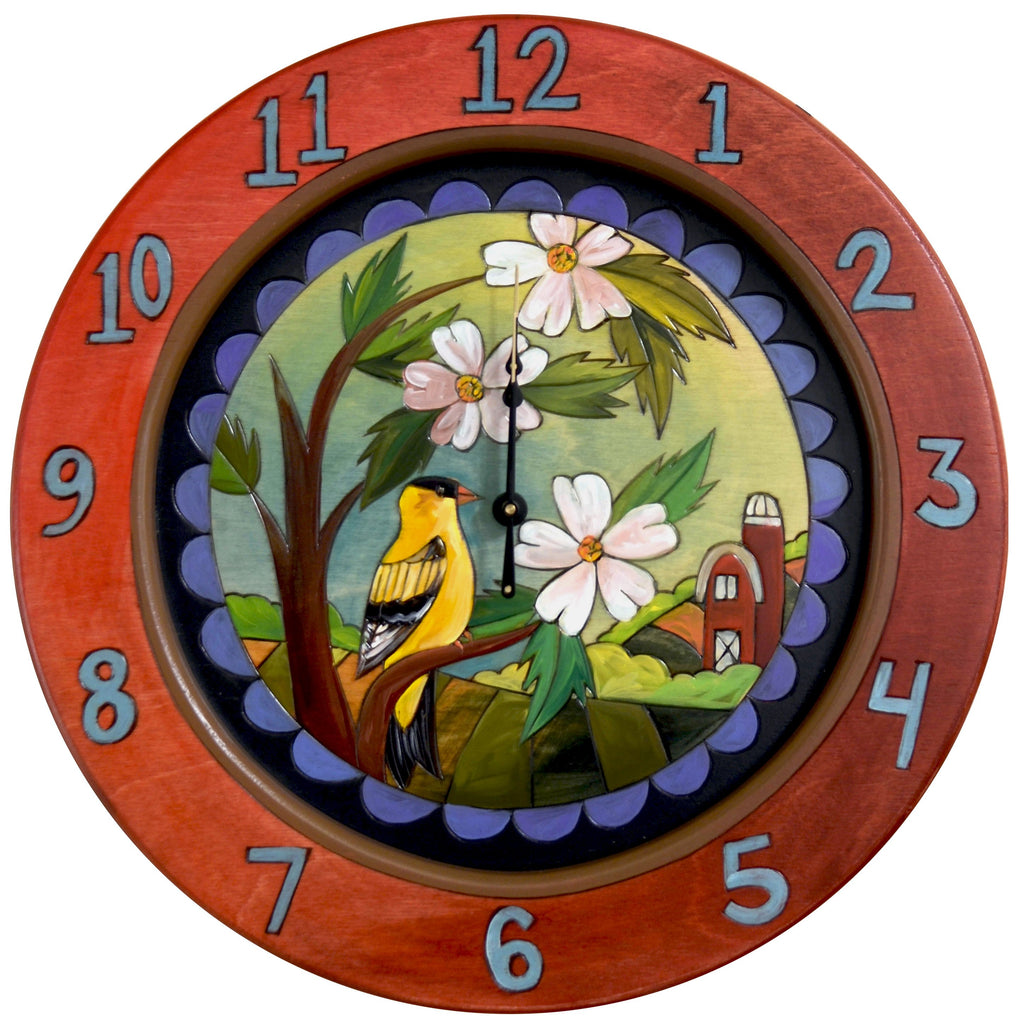 "14"" Round Wall Clock –  Iowa themed wall clock featuring a goldfinch, wild rose, and a traditional red barn in the background"