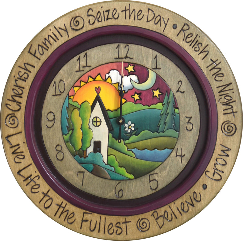"14"" Round Wall Clock –  Elegantly painted landscape wall clock featuring a happy heart home"