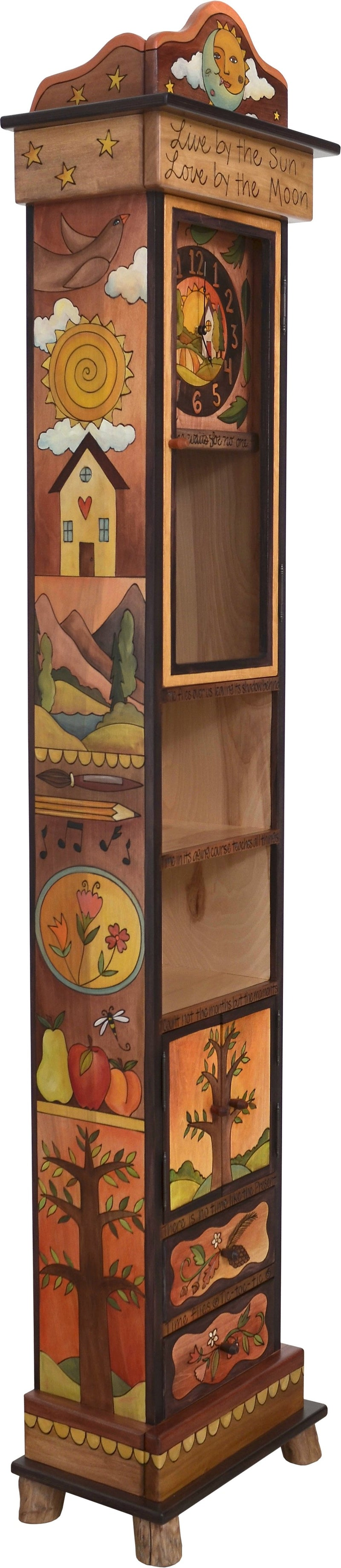 "Grandfather Clock –  Charming grandfather clock with shelves and cabinets for storage, ""Live by the Sun, Love by the Moon"""