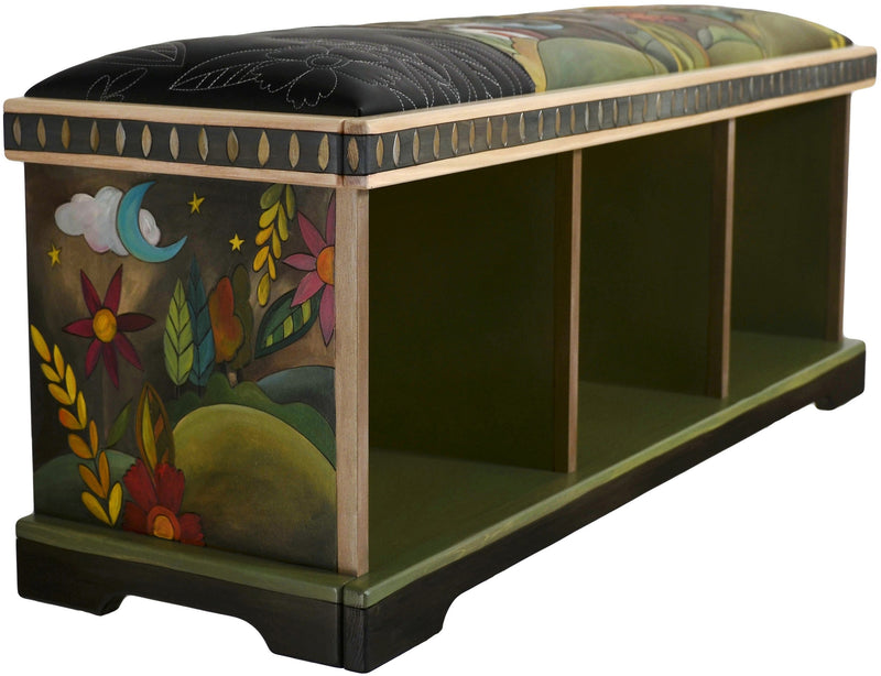 Storage Bench without Boxes, Leather Seat –  Handsome storage bench with hand stitched seat, rolling landscape and floral motif