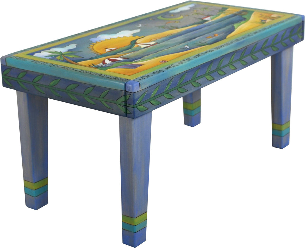 Sticks handmade 3' bench with coastal beach scene