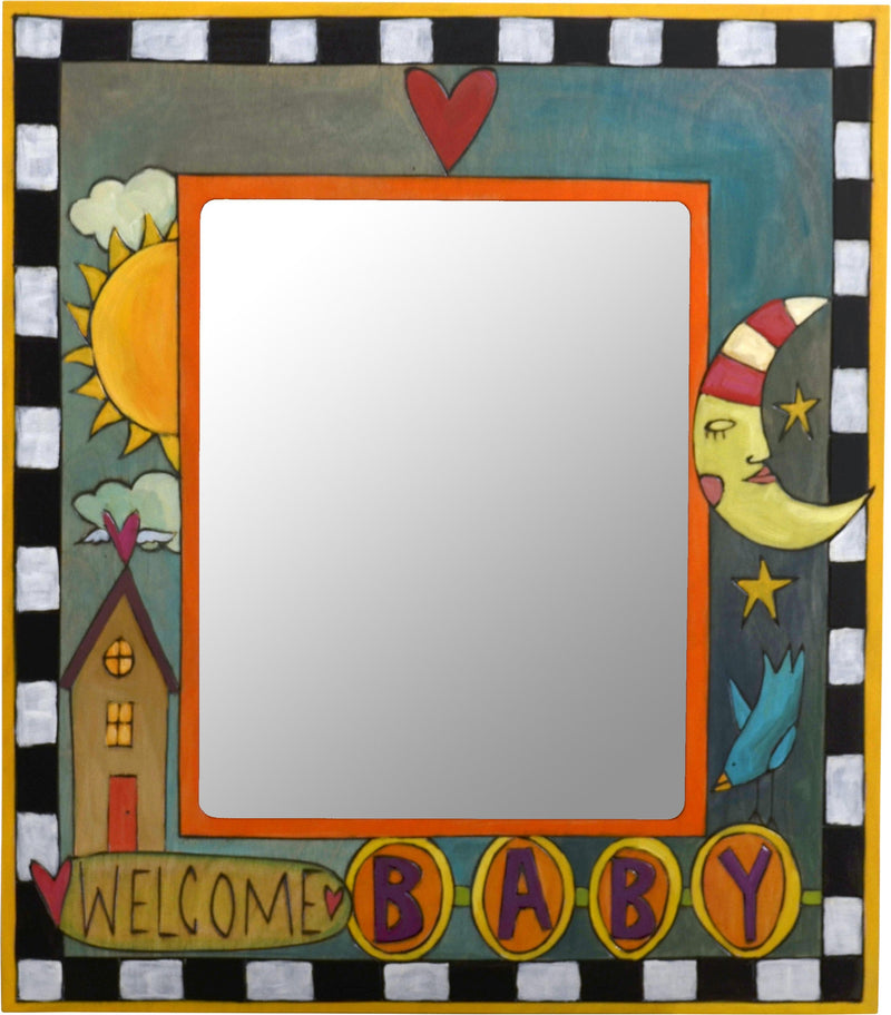 "8""x10"" Frame –  ""Welcome Baby"" frame with sun, moon and home motif"