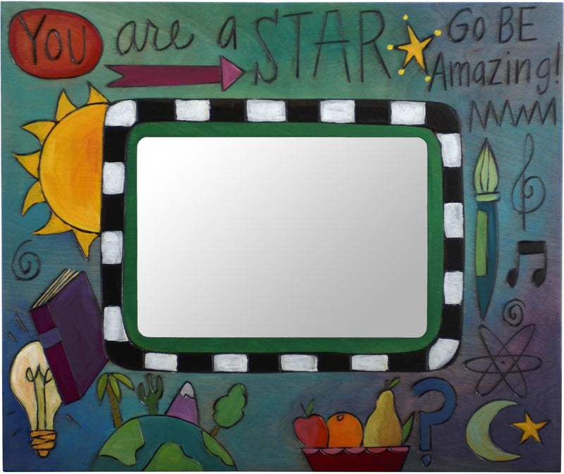 "Sticks handmade 5x7"" picture frame with science scholastic theme"