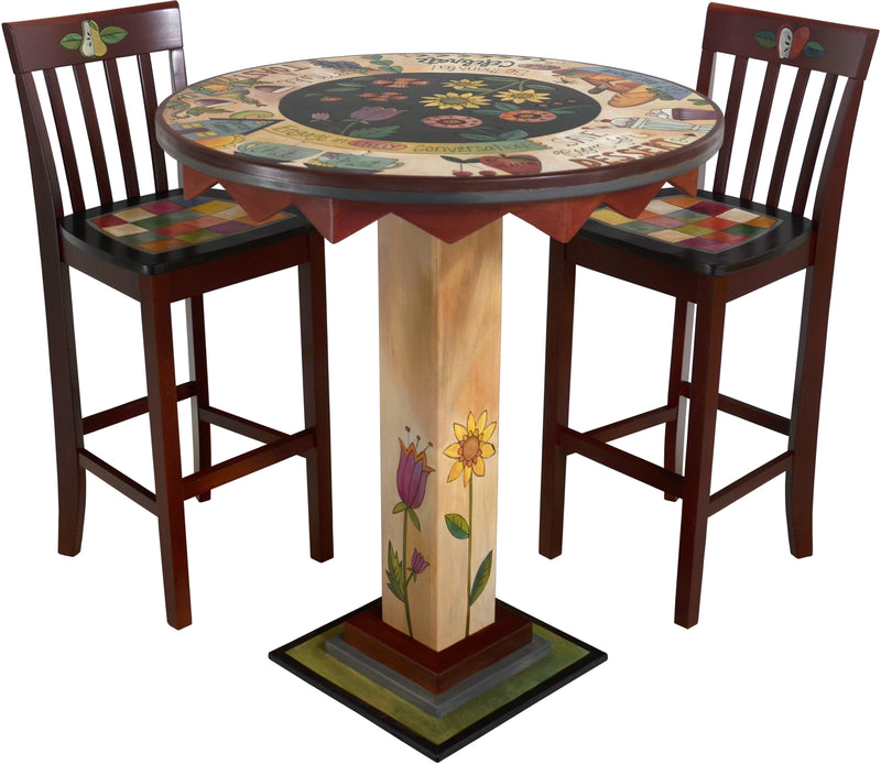"Bar Height Table –  ""Save Room for Dessert"" bar height table with dessert and wine motif"