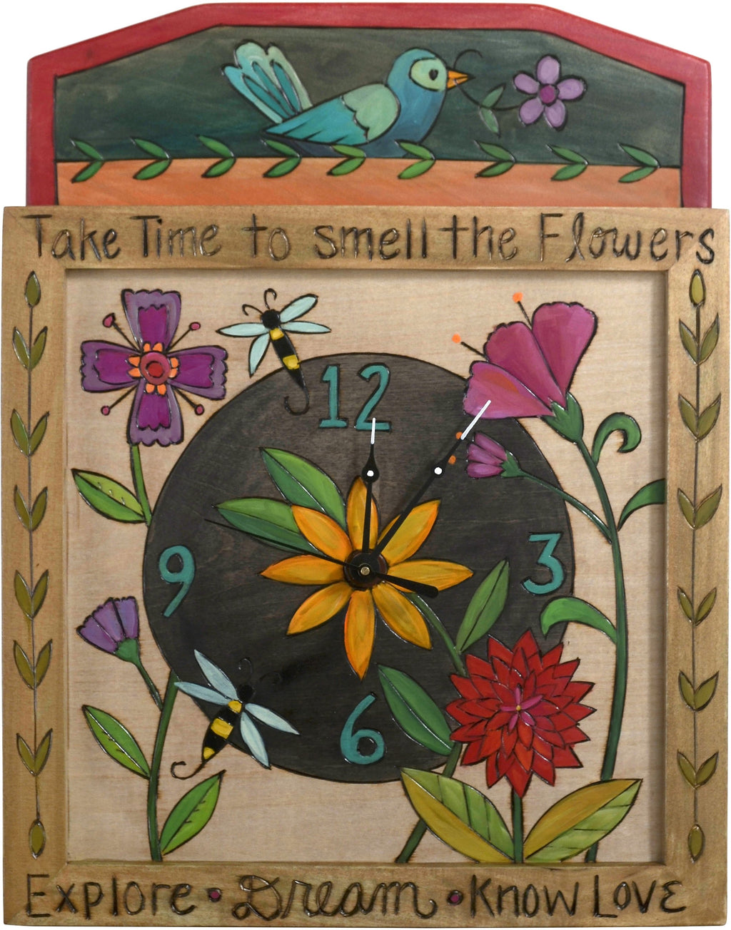 Square Wall Clock –  Lovely wall clock with floral motifs and inspiring phrases