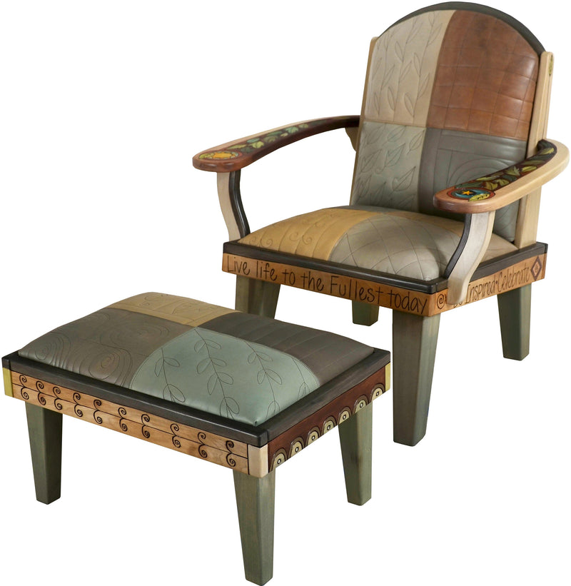 Friedrich's Chair and Matching Ottoman –  Lovely lounge chair and ottoman with hand stitched leather cushions
