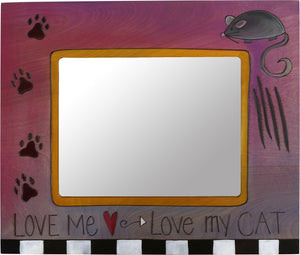 "8""x10"" Frame –  ""Love Me, Love My Cat"" frame with paw prints and mouse motif"