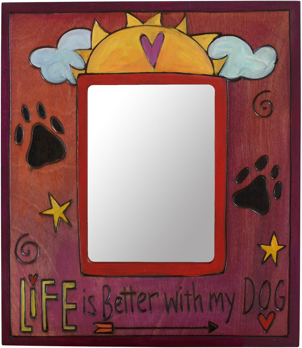 "Sticks handmade 5x7"" picture frame with dog theme"