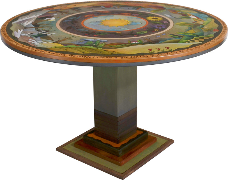Sticks handmade dining table with lovely four seasons landscape