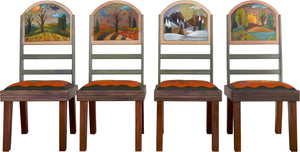 Sticks Chair Set with Leather Seats –  Eclectic folk art chair set with rolling four seasons landscapes