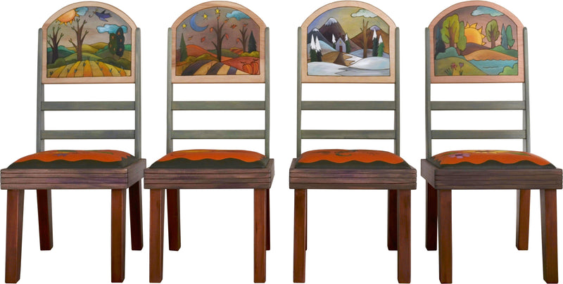 Sticks handmade chairs with lovely four seasons landscape