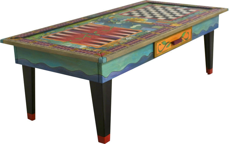 Urban Game Table –  Colorful and eclectic game table with farm, country and city elements