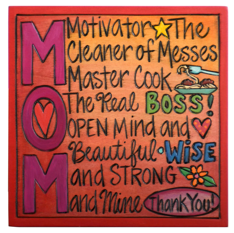 "7""x7"" Plaque –  ""MOM"" titles plaque design"