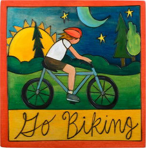 "7""x7"" Plaque –  ""Go biking"" cycling motif"