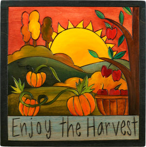 "7""x7"" Plaque –  ""Enjoy the harvest"" pumpkin patch and apple orchard motif"