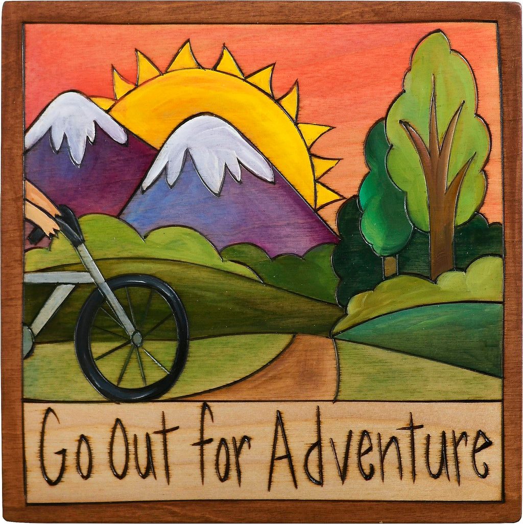 "7""x7"" Plaque –  ""Go out for adventure"" mountain biking motif"