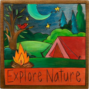 "7""x7"" Plaque –  ""Explore nature"" tent camping motif"