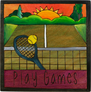"7""x7"" Plaque –  ""Play games"" tennis motif"