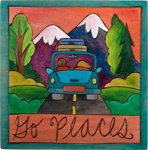 "7""x7"" Plaque –  ""Go places"" roadtrip motif"