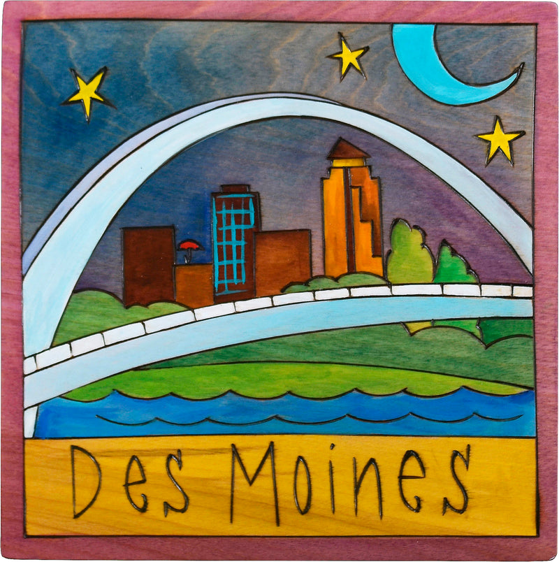 "7""x7"" Plaque –  The Des Moines skyline through the pedestrian bridge"
