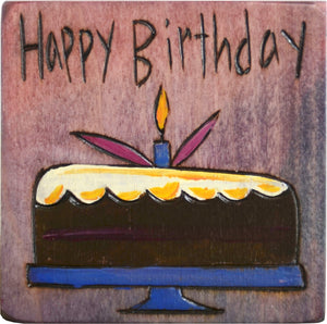 "Large Perpetual Calendar Magnet –  ""Happy Birthday"" perpetual calendar magnet with chocolate cake and candle"