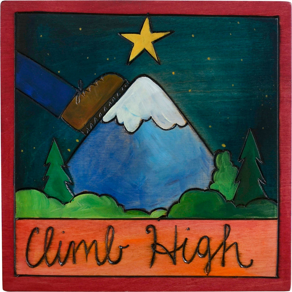 "7""x7"" Plaque –  ""Climb high"" mountain motif"