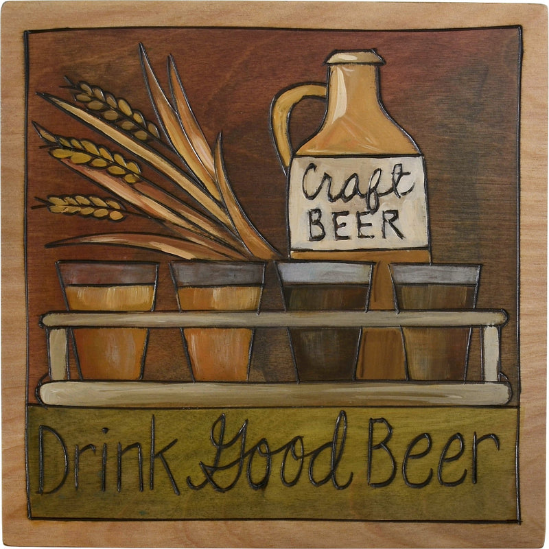 "Sticks handmade wall plaque with ""Drink Good Beer"" quote, beer flight and craft beer growler imagery"