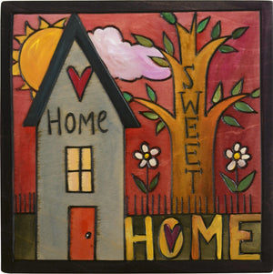 "Sticks handmade wall plaque with ""Home Sweet Home"" quote and house with tree of life imagery"