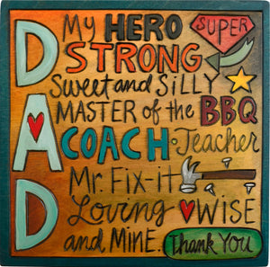 """DAD"" titles plaque design"