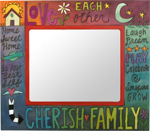 "8""x10"" Frame –  Rainbow colorful painted picture frame with ""Cherish Family"" motif"