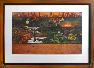 "Framed WWLA Iowa Lithograph 2003 Edition–  ""What We Love About Iowa"" litho print in a handcrafted Sticks frame"