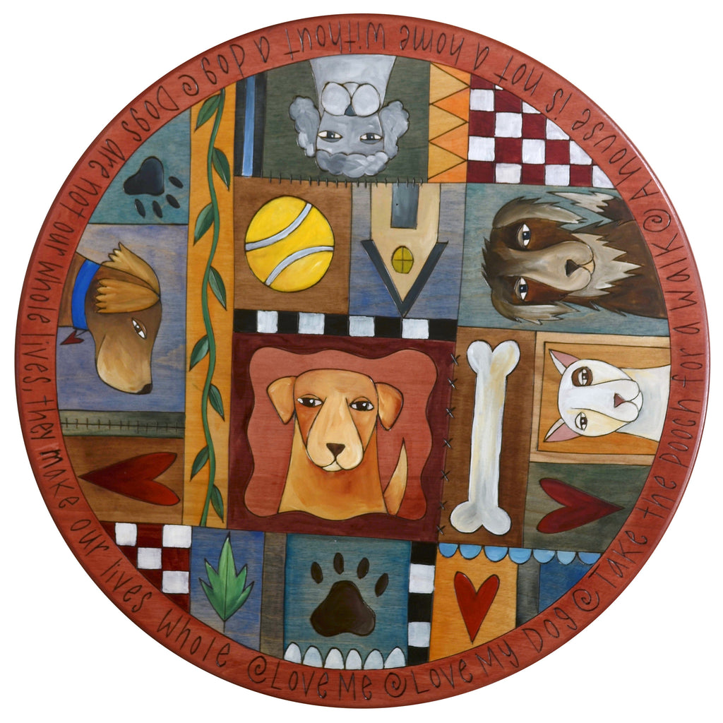 "Sticks Handmade 20""D lazy susan with dogs, puppies, and dog toys"