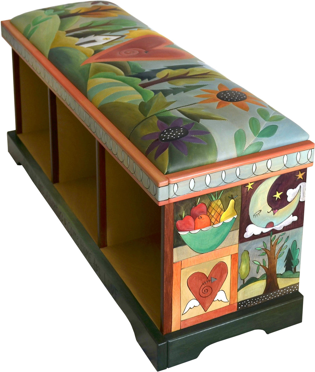 Storage Bench without Boxes, Leather Seat –  Gorgeous garden landscape storage bench with hand stitched leather seat