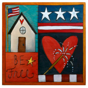 "Patriotic crazy quilt design with ""be free"" patch"
