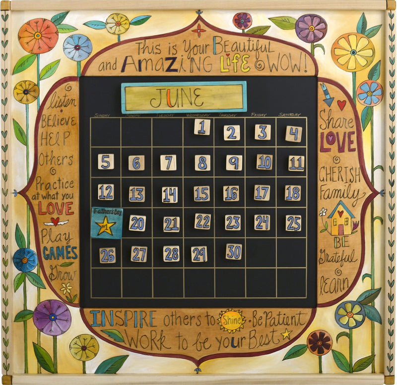 "Large Perpetual Calendar –  ""Inspires others to Shine"" perpetual calendar with bright floral motif"