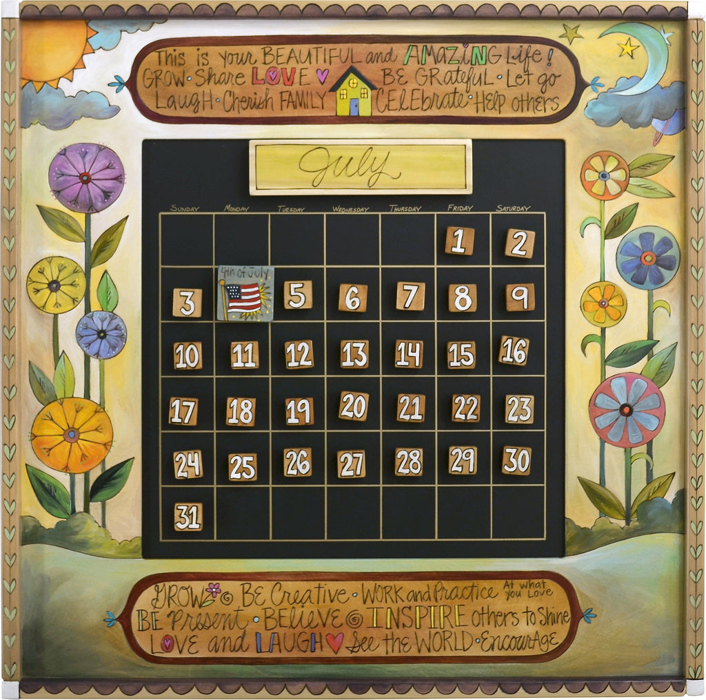"Large Perpetual Calendar –  ""This is your Beautiful and Amazing Life"" perpetual calendar with bright floral motif"