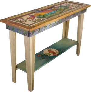 Sticks handmade sofa table with colorful folk art imagery and birds