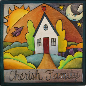 "Sticks handmade wall plaque with ""Cherish Family"" quote and happy home imagery"