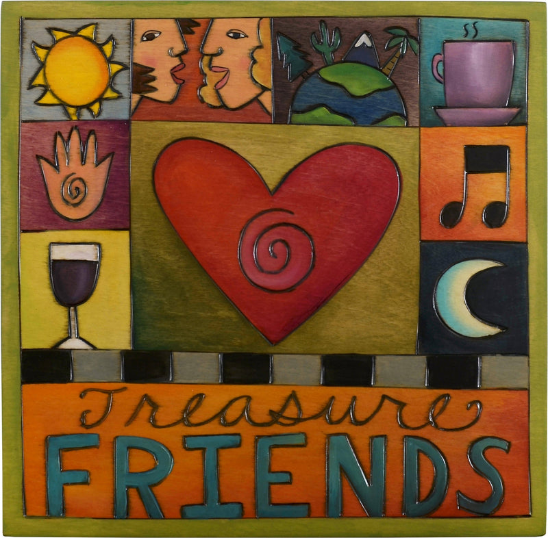 "Sticks handmade wall plaque with ""Treasure Friends"" quote and colorful life icons"