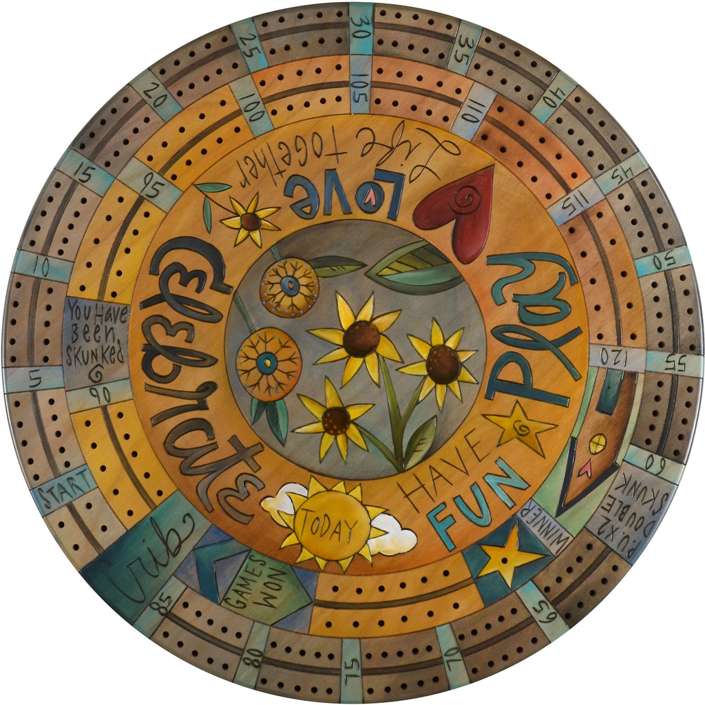 "20"" Cribbage Lazy Susan –  A whimsical combination of phrases and a contemporary floral design"