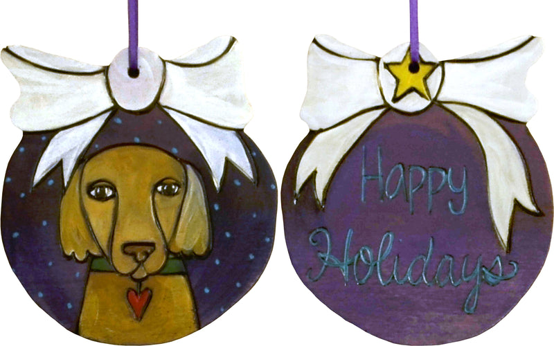 Ball Ornament –  Merry Christmas ball ornament with dog motif