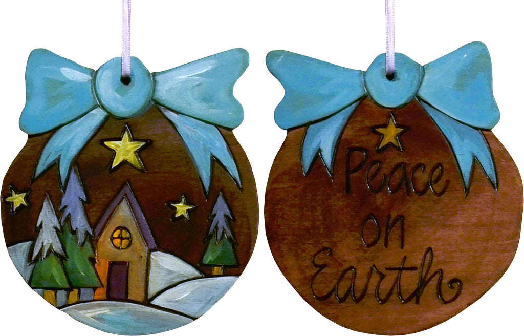 Ball Ornament –  Peace on Earth ball ornament with home on a snowy horizon motif