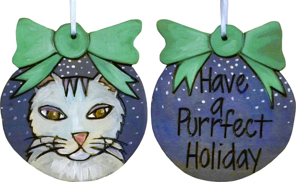 Ball Ornament –  Have a Purrfect Holiday ball ornament with cat motif