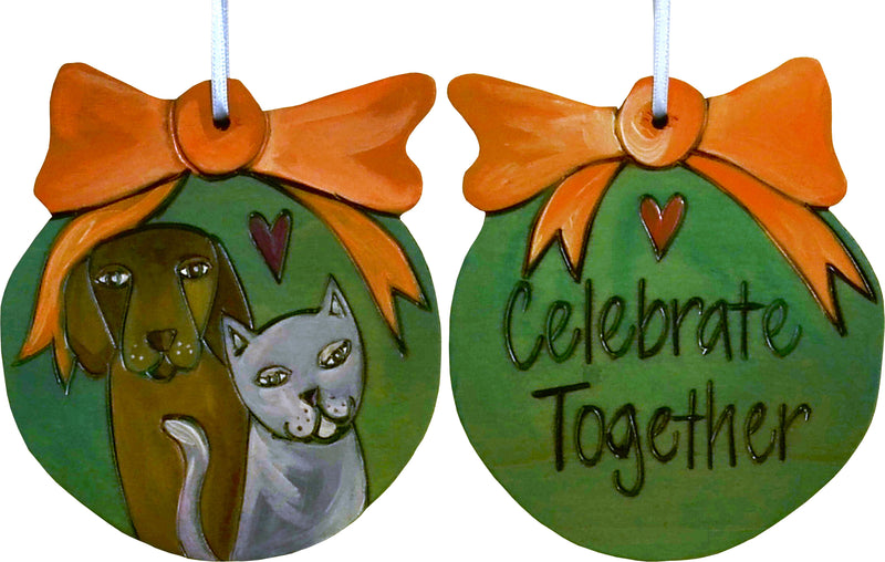 "Ball Ornament –  ""Celebrate Together"" ball ornament with dog and cat motif"