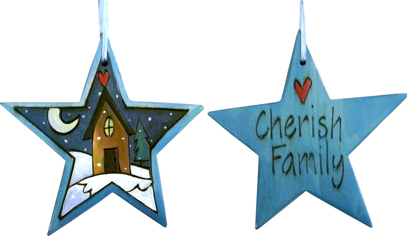 "Star Ornament –  ""Cherish Family"" star ornament with cozy cottage in the snow motif"
